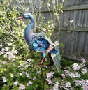 Large Metal Peacock Windmill Ornament - Wind Spinner
