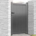 Aluminium Single Tall Pedestrian Gate - Grey Finish - Different Size Options