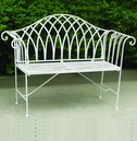 Ornate Scrolled Metal Bench - Antique White