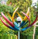 Tresco Large Garden Wind Sculpture Spinner with Solar Light Crackled Globe