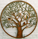 Large Colourful Tree of Life Metal Wall Art - with Birds